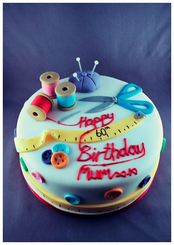 Sewing Themed 60th Birthday Cake 8 Inch Round Vanilla Sponge