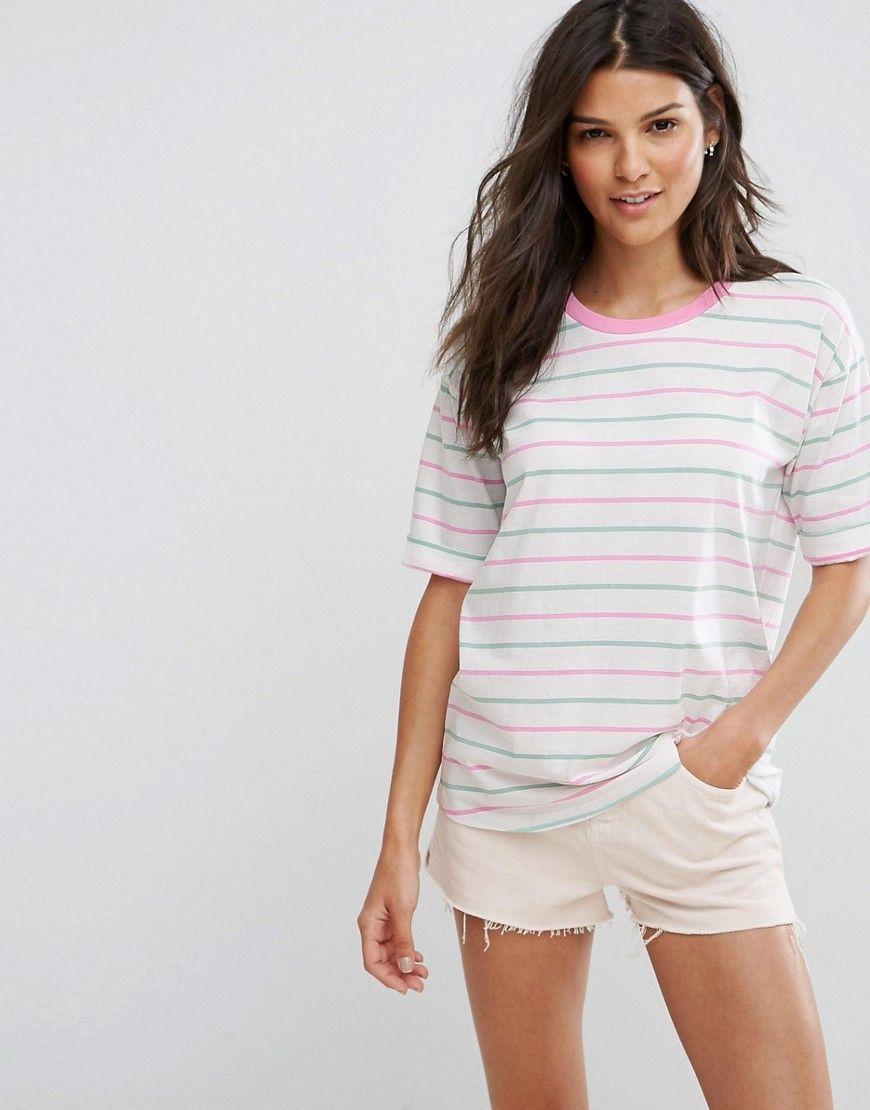 T-Shirt In Candy Stripe - White/pink Asos With Mastercard Cheap Price PJY0U
