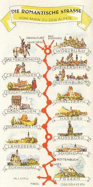Romantische Strasse Deutschland Historie Deutschland Abenteuer Und Reisen Karte Deutschland
