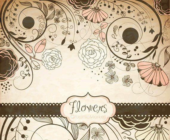 Vintage Flower Clip Art Floral Border