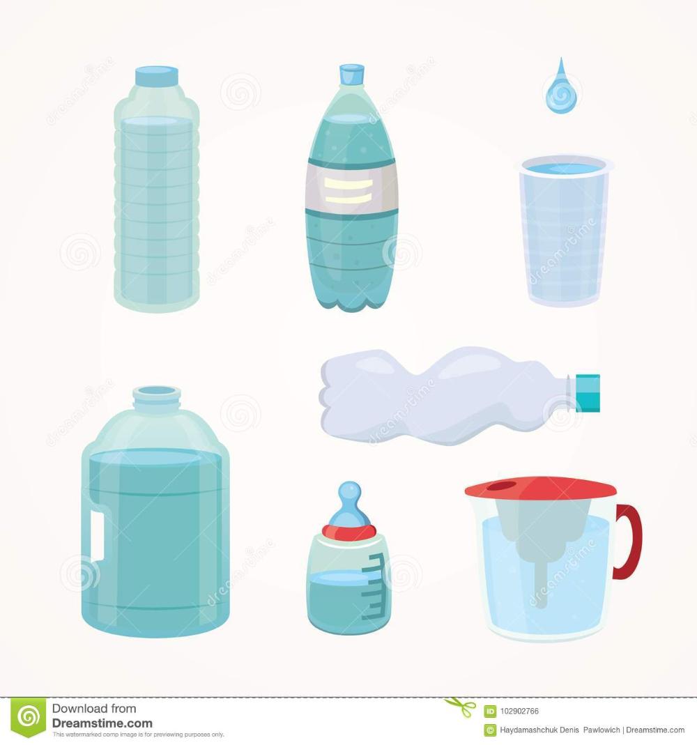Set Plastic Bottle Of Pure Water Different Bottle Design Vector Illustration In Cartoon Style Stock Vector Cartoon Styles Bottle Design Vector Illustration