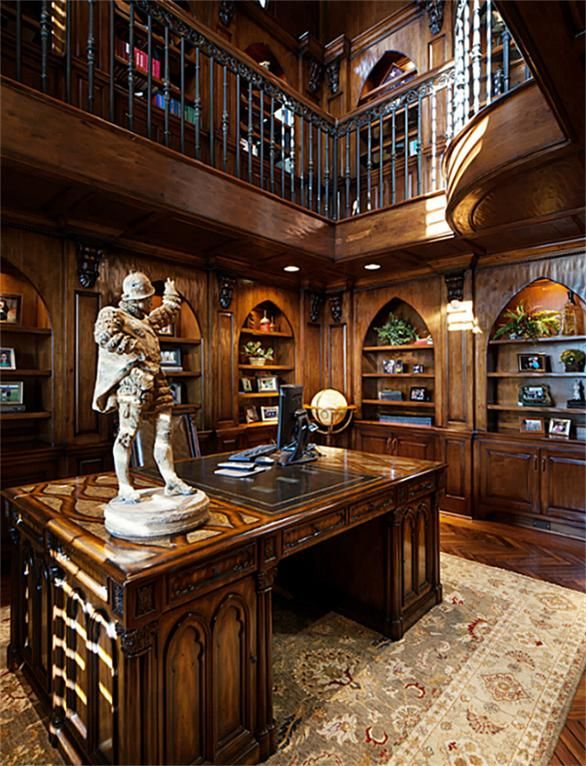 Stylish Study Room: This 2 Story Study With Stunning Cathedral Style