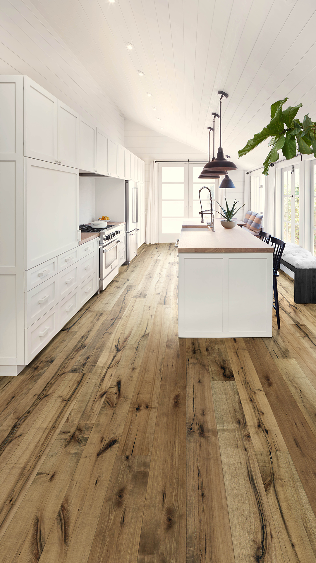 For Floors That Really Standout Distressed Brown Maple Flooring Goes Hand In Hand With This Kitc Hardwood Floors Dark Hardwood Floor Colors Wood Floor Kitchen