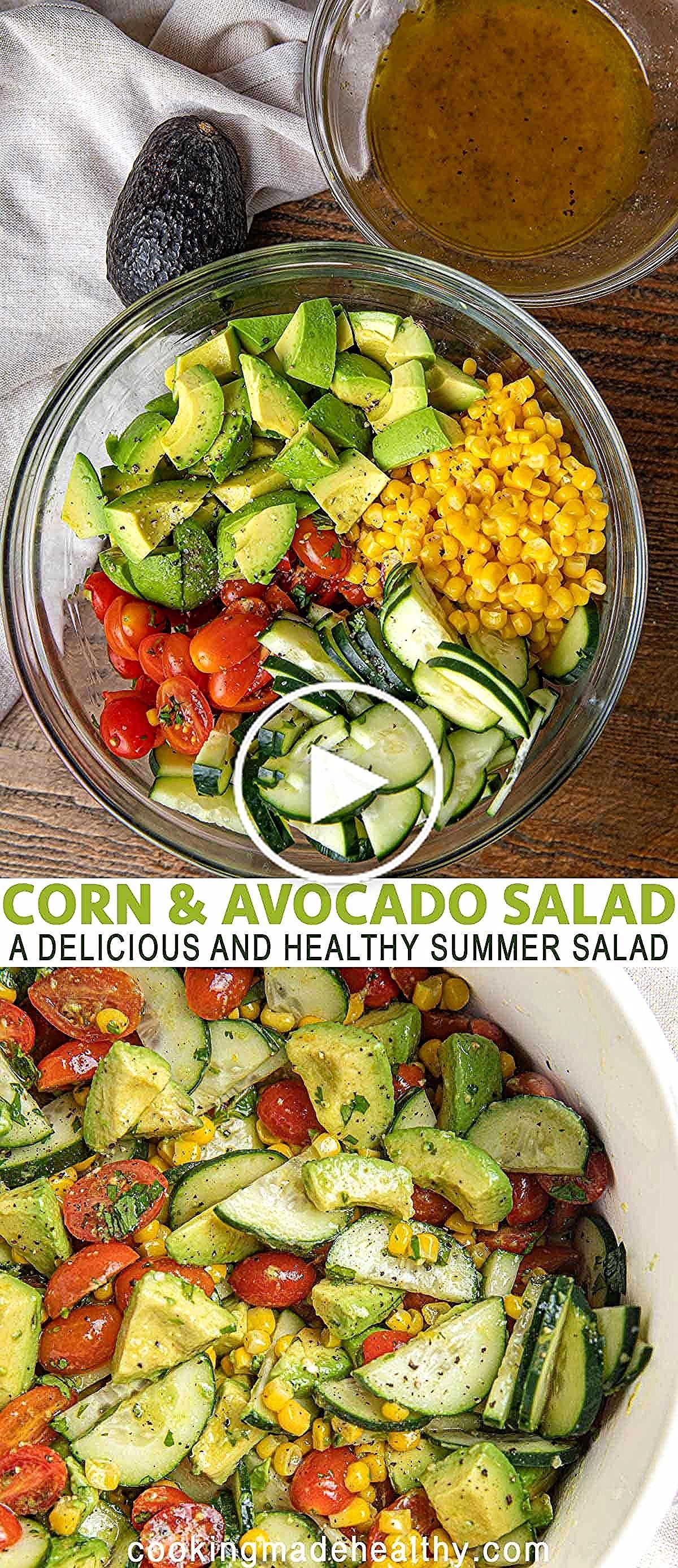 Mai und Avocado-Salat mit Tomaten und Gurken und einer gesunden hausgemachten Vinaigrette ist ein e