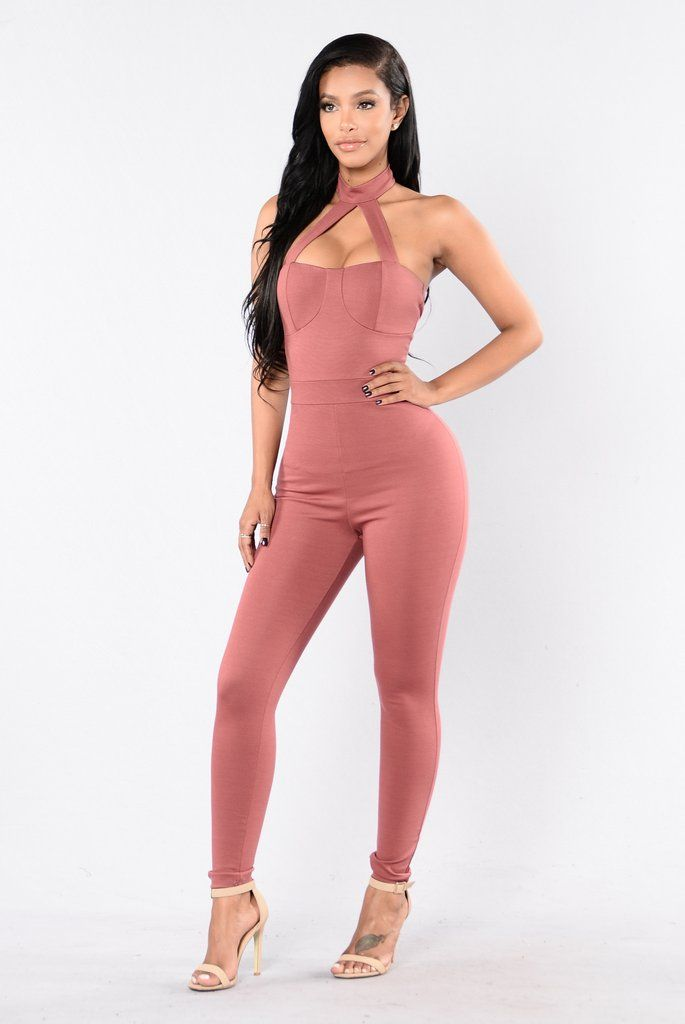 91a36098ddf5 Jumpsuits For Women. - Available in Black and Marsala - Front Strap w   Choker - Open Back - Fitted - Skinny Leg - 70% Rayon