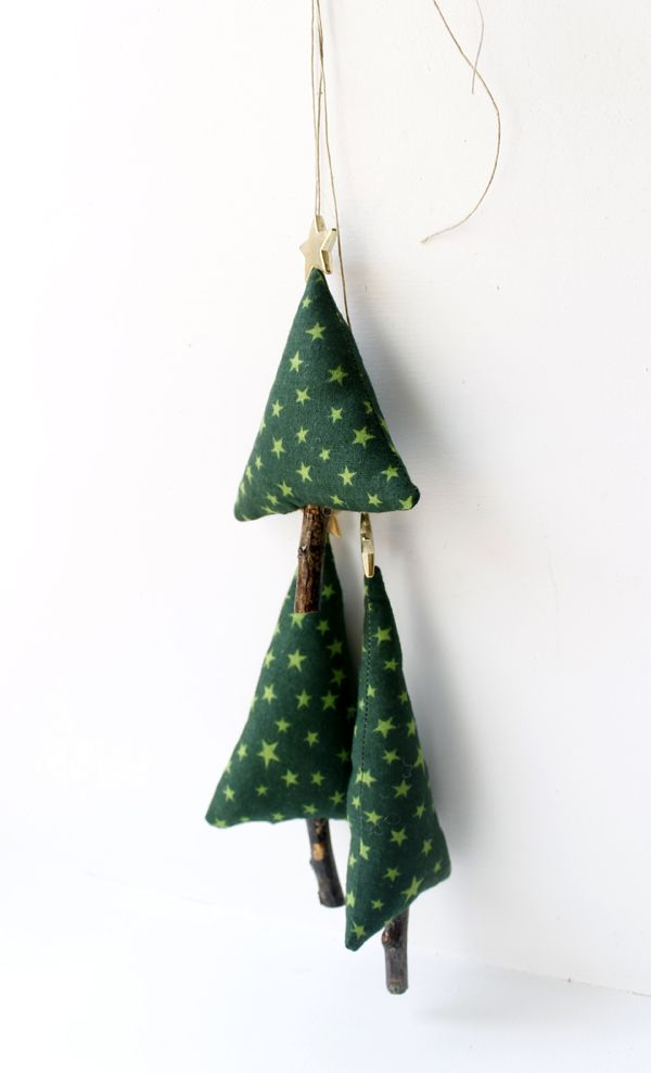 Set of Three Christmas Tree, Decoration for Christmas Time, textile