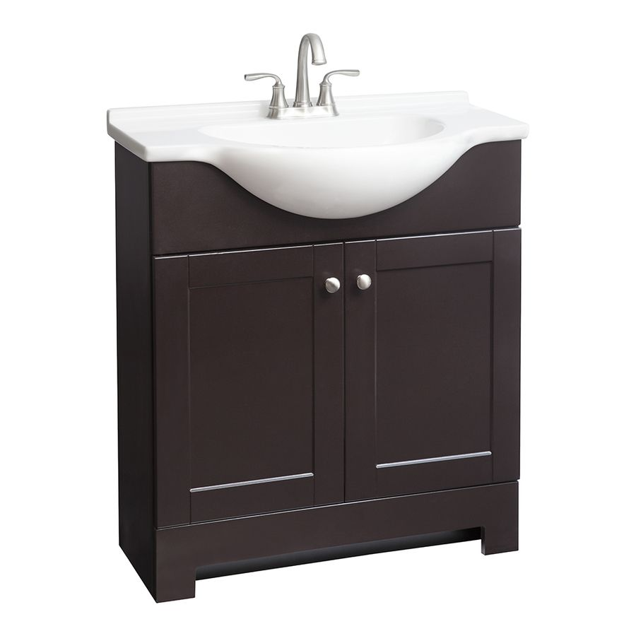 Style Selections Euro Espresso Integral Single Sink Bathroom Vanity With Cultured Marble Top 31in