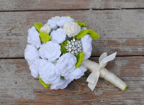 Crochet Bridal Flowers- Bridal Bouquet and Boutonniere | my crochet ...