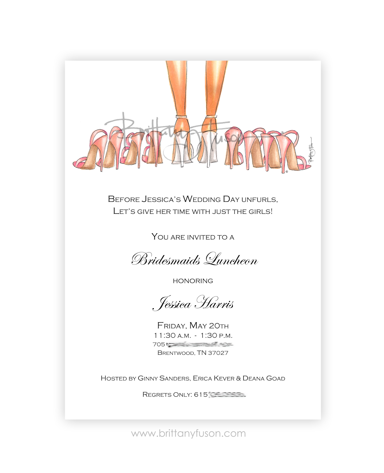 Bridesmaids Luncheon Invitations Will You Be My Bridesmaid
