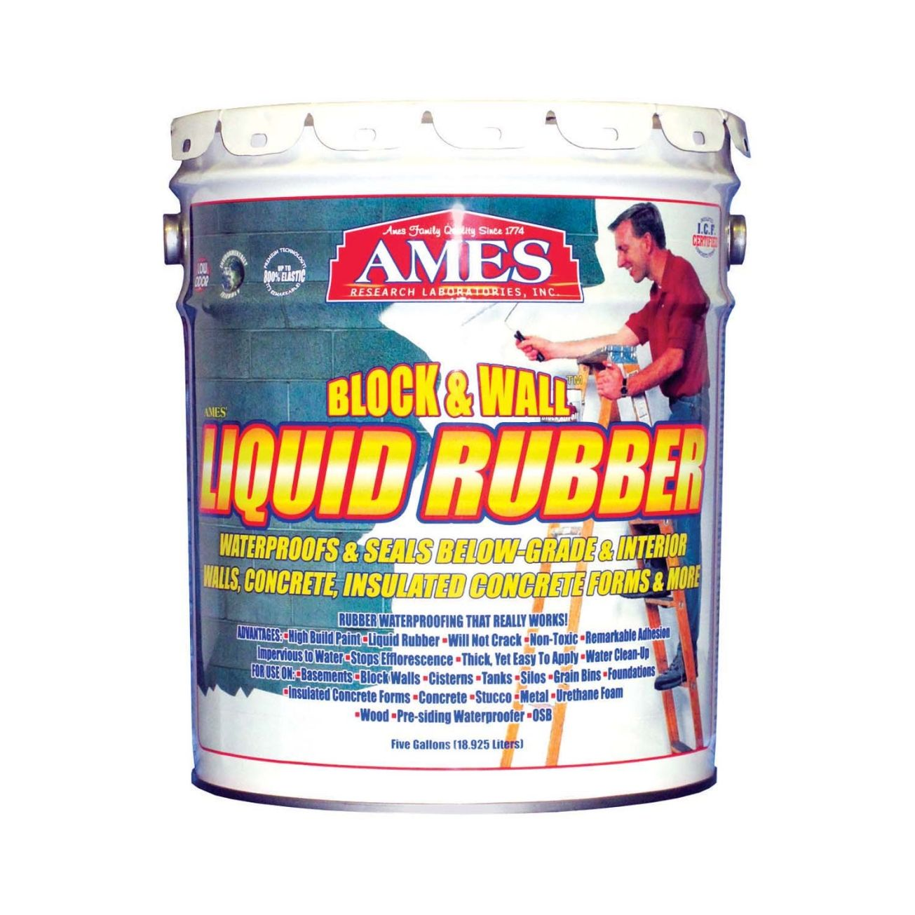 Ames® Block U0026 Wall Liquid Rubber Paint (BMRF5)   Roof / Foundation Coatings