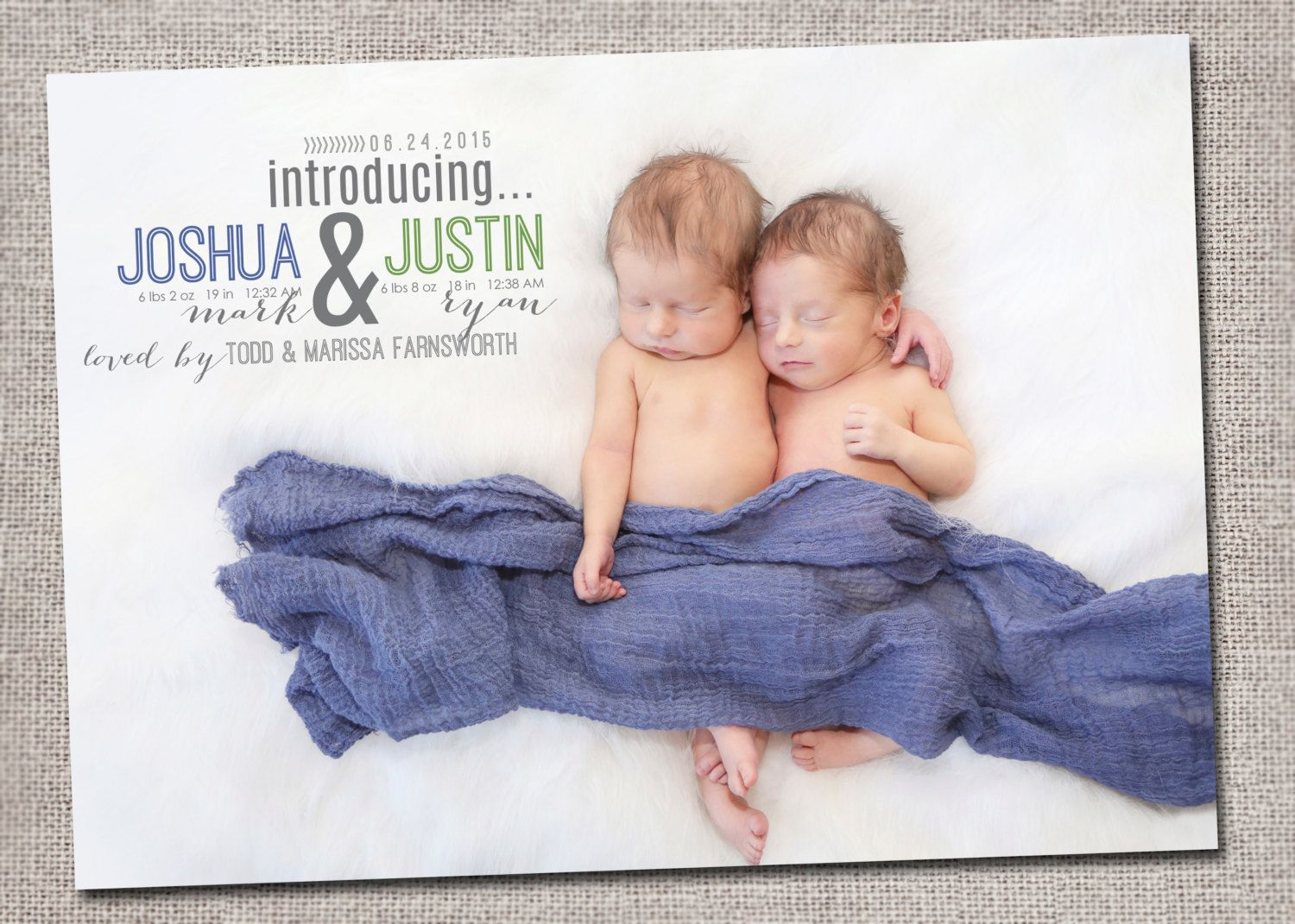 Twin Baby Announcement Baby Boy Baby Girl Printable Birth – Etsy Baby Announcements