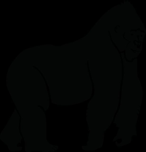 silueta mono gorila animales selva  dibujos lineales y