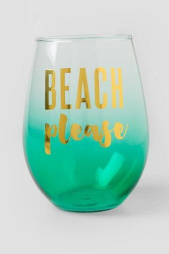 3189bb6d5d5 Beach Please Ombré Stemless Wine Glass   Multi Use Designs/Patterns ...