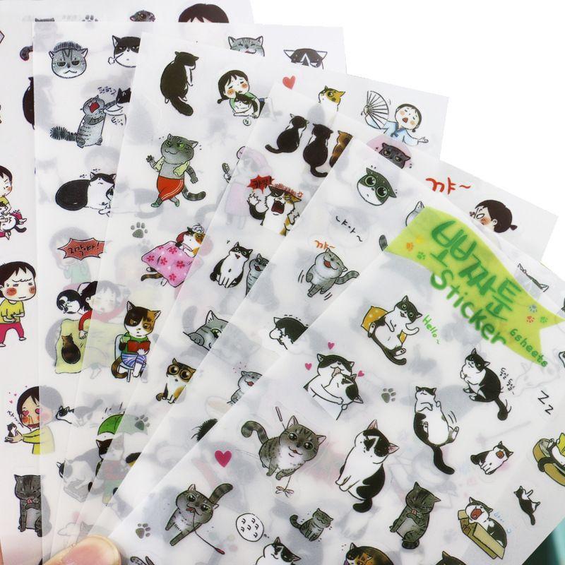 купить товар творческий прозрачной пвх наклейки милый черный и белый