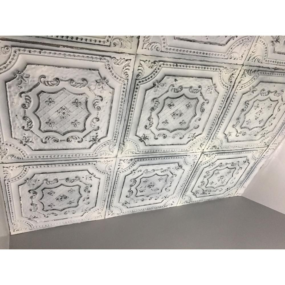 From Plain To Beautiful In Hours Elizabethan Shield 2 Ft X 2 Ft Glue Up Pvc Ceiling Tile In Old Black White Dct04obw 24x24 The Home Depot Faux Tin Ceiling Faux Tin