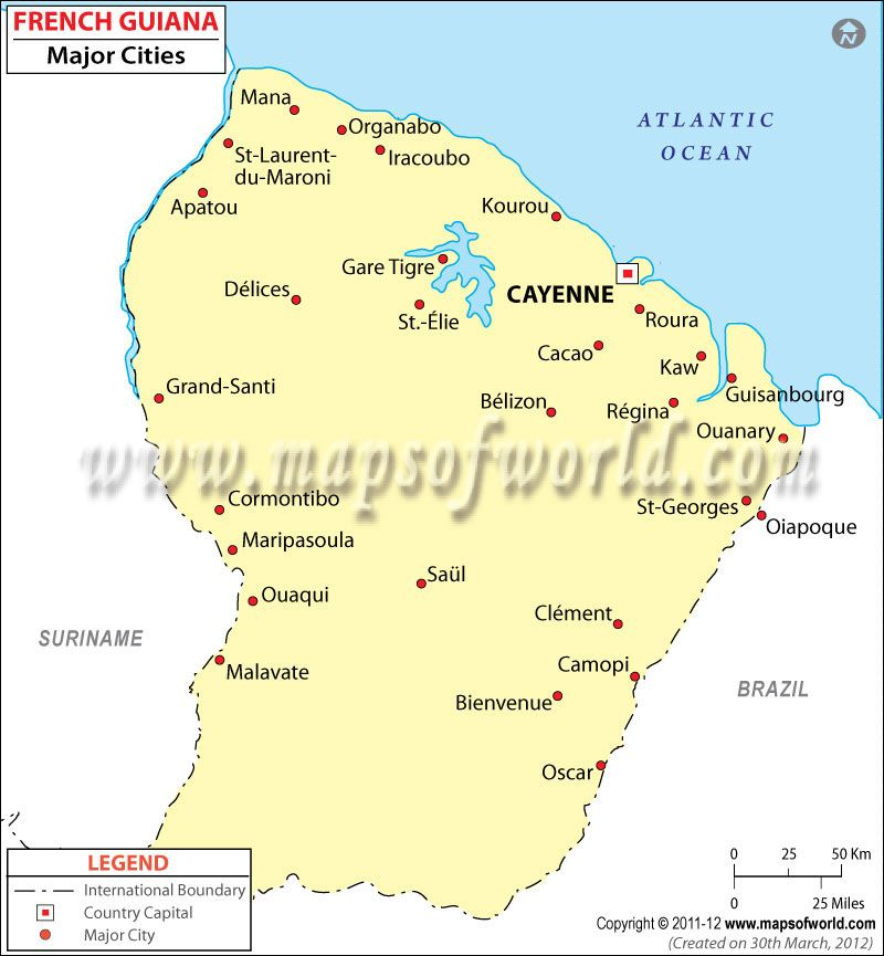 French Guiana Cities Map French Guiana Frans Guyana Pinterest