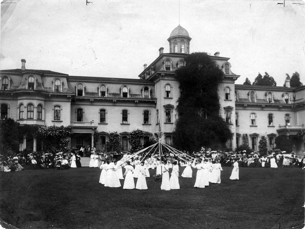 Photograph of maypole dance at Mills College in Oakland, CA (ca ...