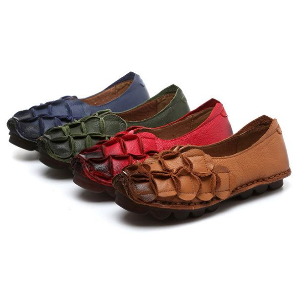 Rétro Socofy Feuilles Chaussures Plates En Cuir À La Main Couture De Motif 5LkdnZ