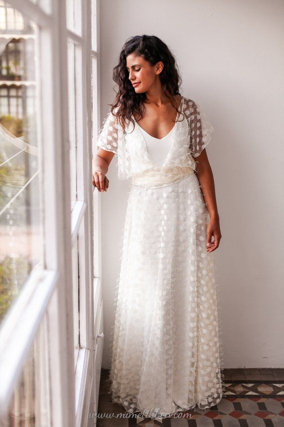 f2de0a2770f25 Loose sleeve wedding dress, Loose wedding dress tulle, Polka dot bridal gown,  Relaxed wedding dress