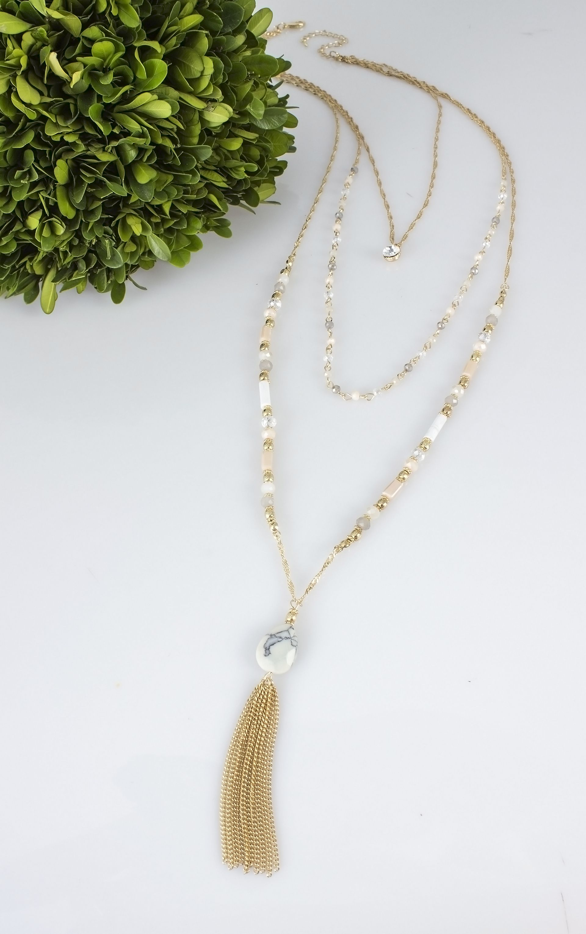 property silver room feather l tier necklace