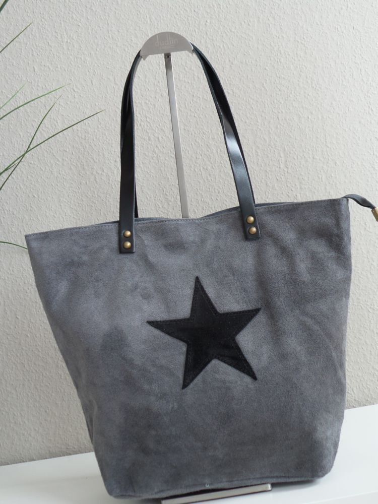 italy wildleder leder shopper bag tasche stern big star. Black Bedroom Furniture Sets. Home Design Ideas