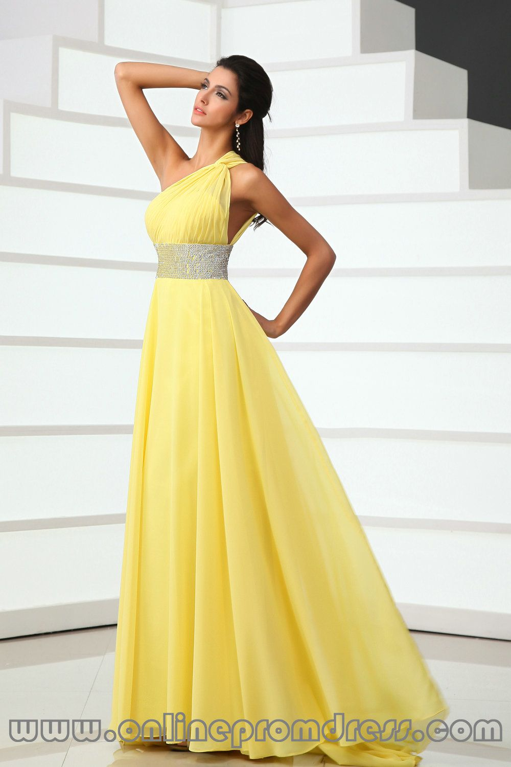 One Shoulder Handmade Beaded Chiffon Yellow Prom Dresses Sweep ...