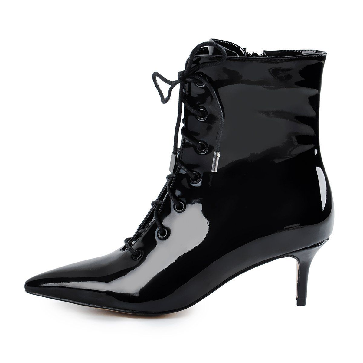 Kitten Low Heel Pointed Toe Lace Up Patent Black Leather Ankle Boots Kitten Heel Ankle Boots Leather Ankle Boots Black Leather Ankle Boots