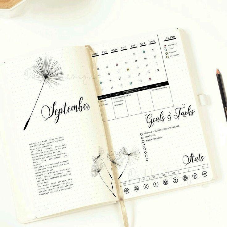 Design Calendar Journal : Simplified bullet journal layout and design spread