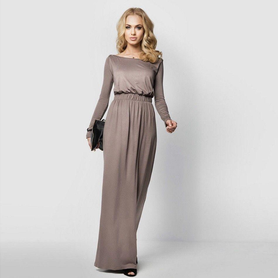 Free shipping buy best colors women long sleeve maxi dress