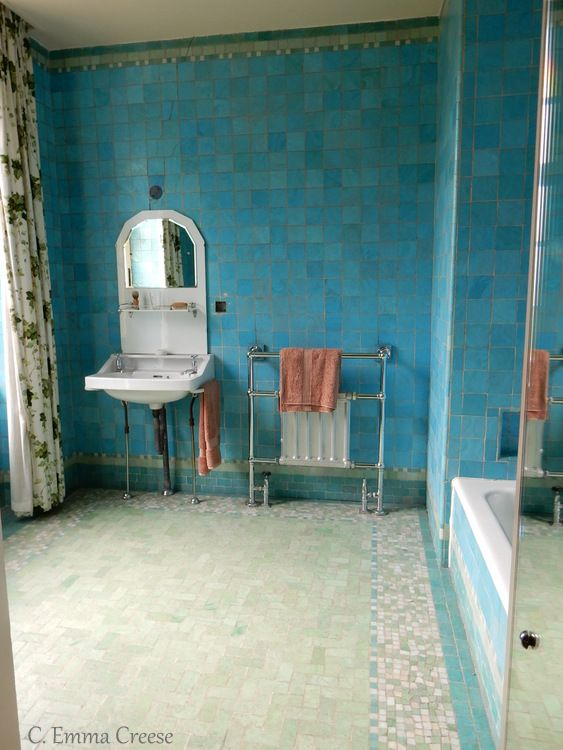 why you should visit eltham palace blue bathroom tilesart - Bathroom Tiles Eltham
