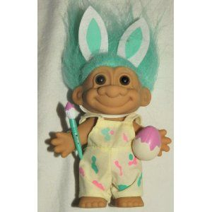 EASTER BUNNY ARTIST Russ Lucky 6 Inch Troll Doll (Green Hair Rabbit Ears Egg Brush).  Omg a troll doll with MINT GREEN HAIR! WANT NOW!