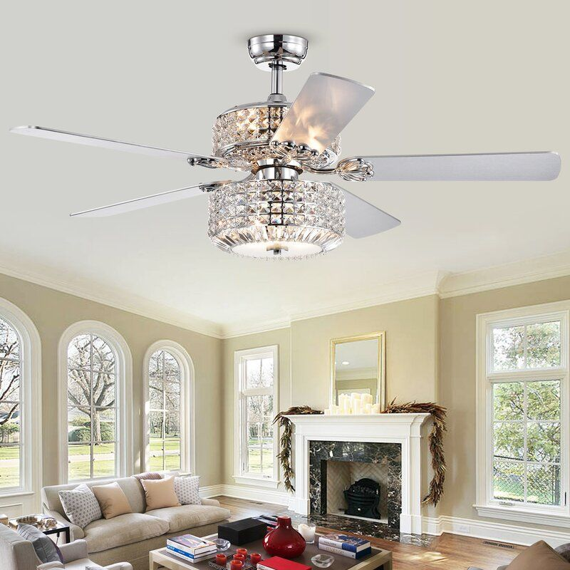 52 Pitchford 5 Blade Crystal Ceiling Fan With Remote Control And Light Kit Included Ceiling Lights Ceiling Fan Ceiling Fan With Remote