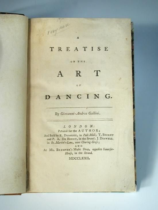 Sale B250216 Lot 128  GALLINI (Giovanni Andrea) A Treatise on the Art of Dancing, London: for the Author 1772, 8vo, folding plate of Chinese dancers, finely rebound in quarter calf over marbled boards, [ESTC N13982]  - Cheffins