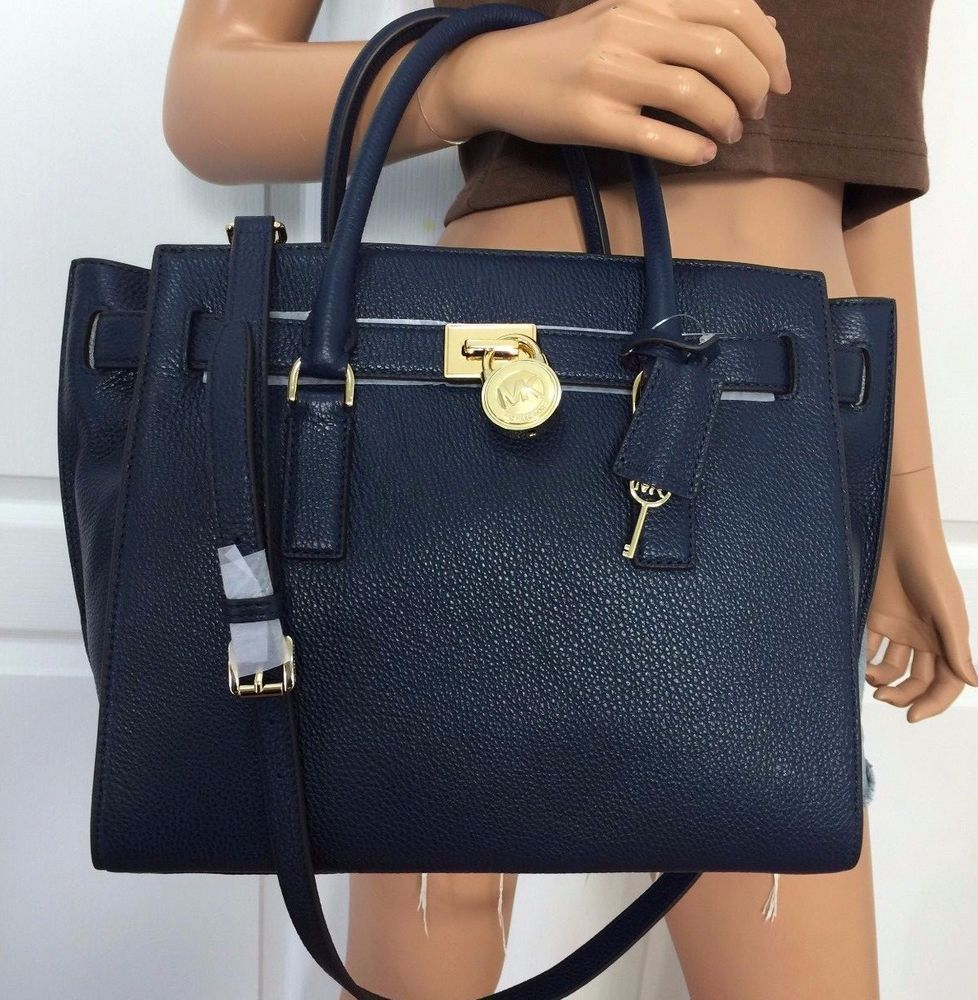 c2a28822e327 Michael Kors Hamilton Traveler Large pebbled Leather Handbag Bag Purse Navy  Blue #MichaelKors #TotesShoppers