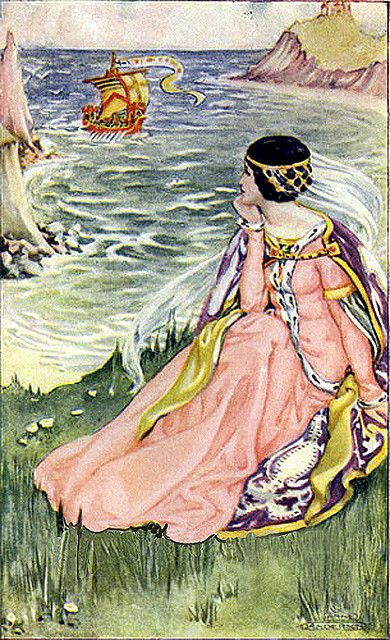 """""""Princess On The Cliffs"""" The Canterbury Tales - Artist Anne Anderson--Written by Geoffry Chaucer - A Tale From England (1483)"""