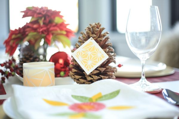 DIY gift tags, candle wraps, or paper cards for a Christmas tablescape.   #diy #joonecreative #holiday #christmasdecor #diypaper #papercutting #tablescape #holidaydecor