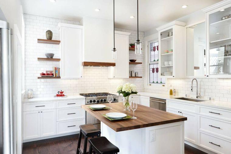 Cocinas Blancas Modernas Con Detalles En Madera Cocinas Blancas