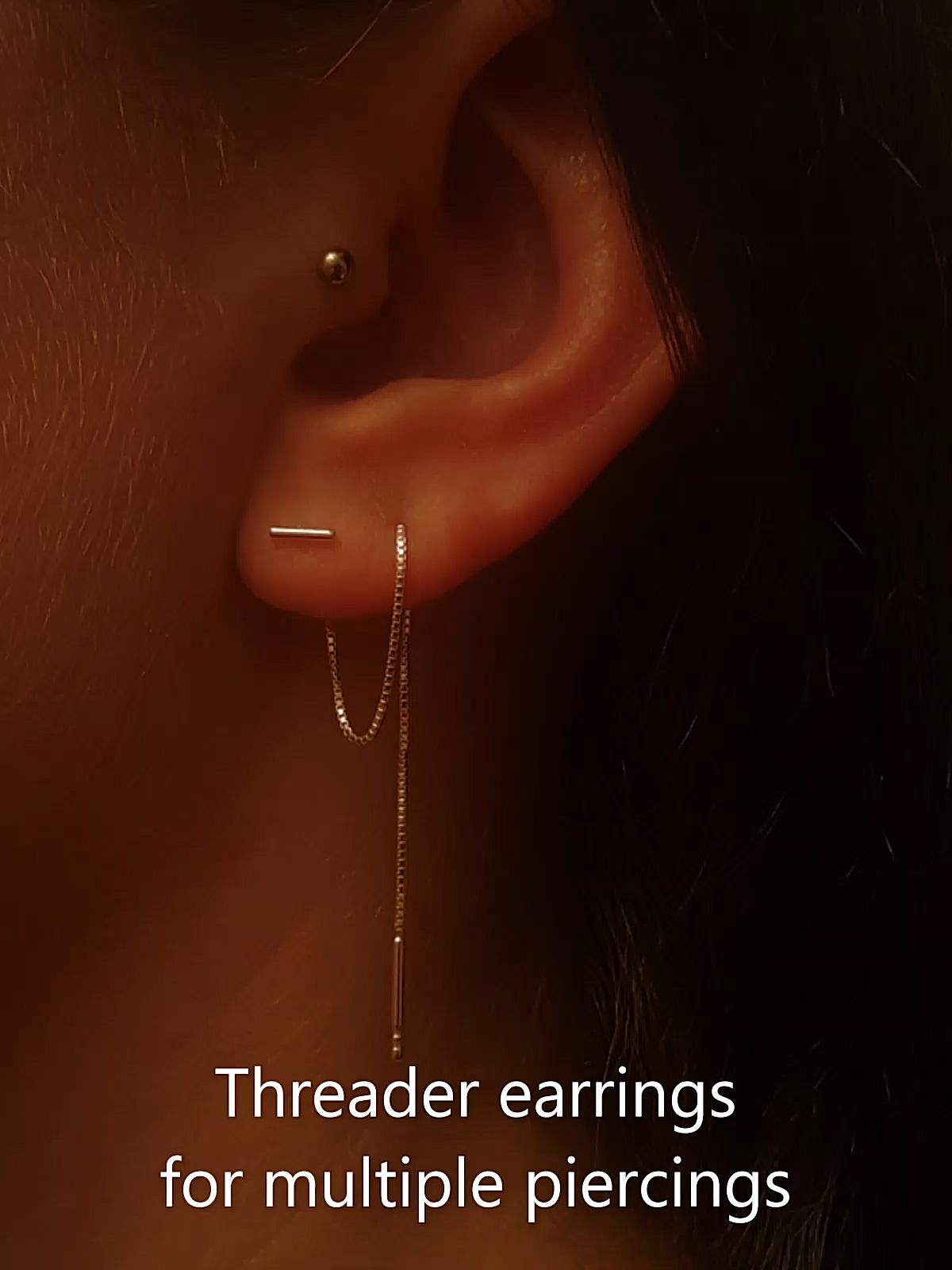 3 ear piercings in a row earrings