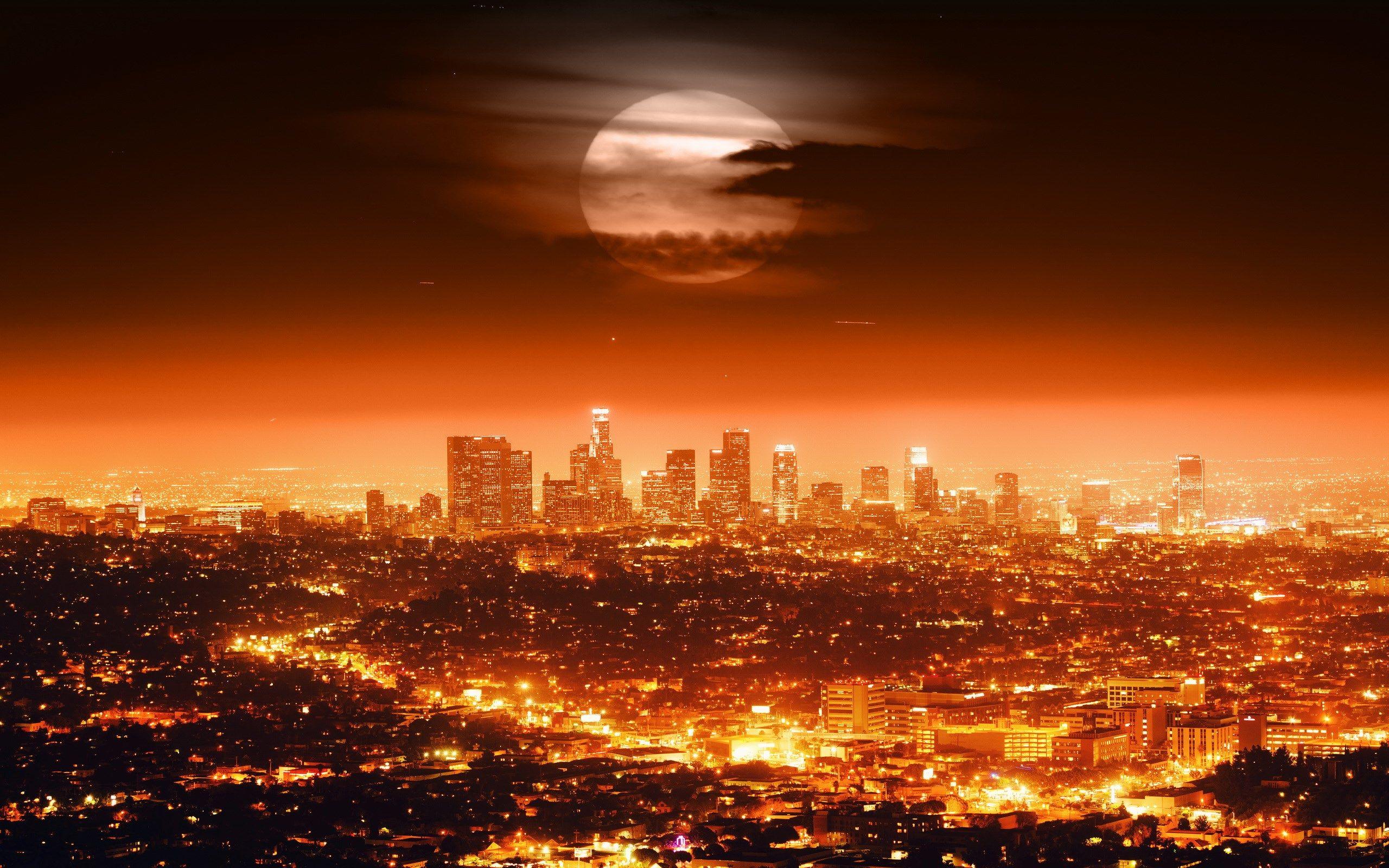 Hq Definition Wallpaper Desktop Los Angeles Los Angeles Skyline Los Angeles Wallpaper Los Angeles At Night