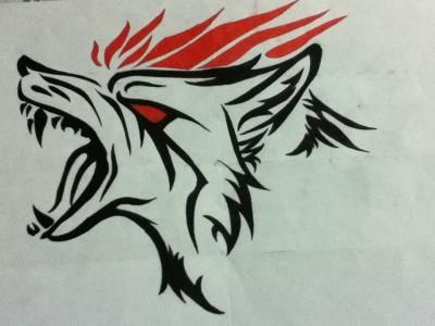 Angry Tribal Wolf Drawing