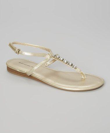 Look at this #zulilyfind! Light Gold Dayne T-Strap Sandal #zulilyfinds