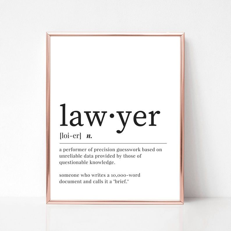 Lawyer Definition Print Digital Download Funny Lawyer Dictionary