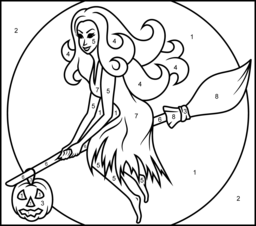 Witch on a Broomstick - Printable Color by Number Page | Halloween ...