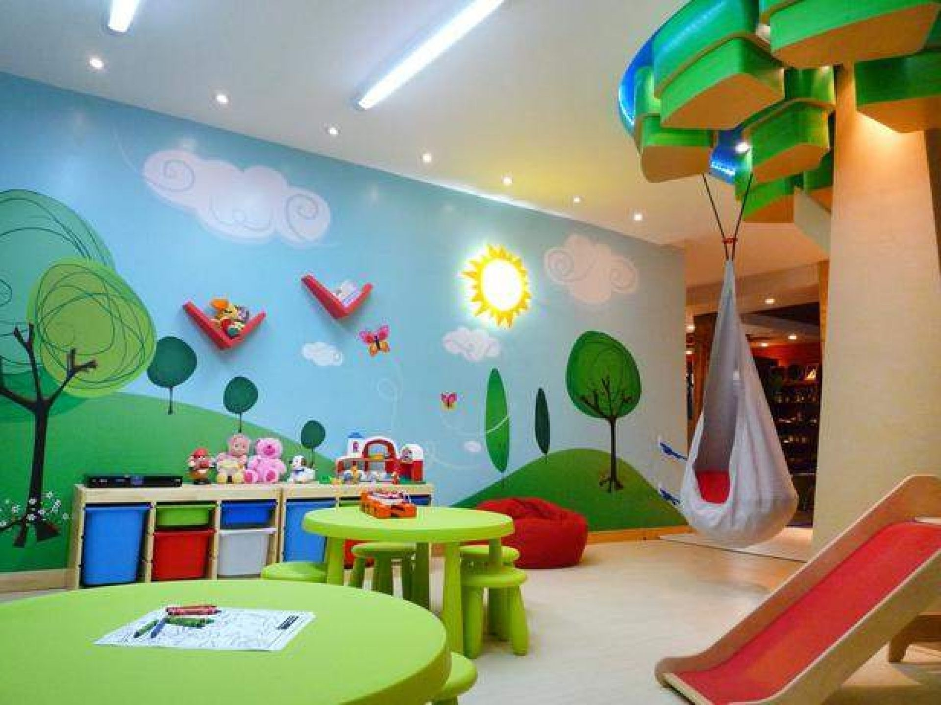 Ordinary Toy Room Design Ideas Part - 14: Beautiful Kids Playroom Design Ideas Featuring Beige Vinyl With Regard To  Fun Kids Room