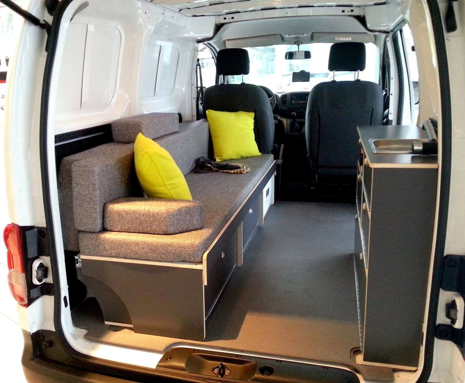 bett sofa f r nissan nv200 mini camper 10 29 00 1 campingbus pinterest. Black Bedroom Furniture Sets. Home Design Ideas