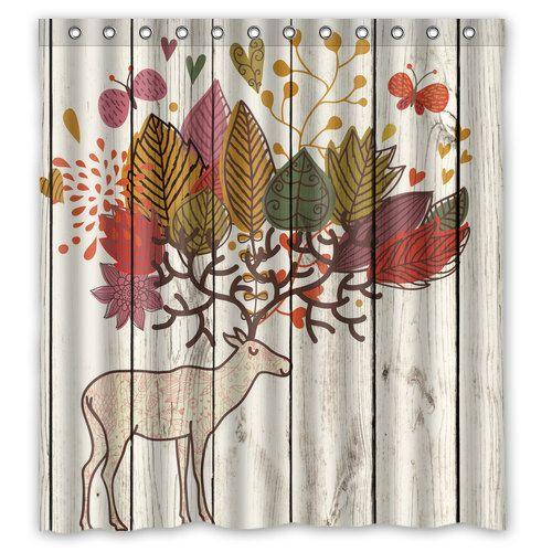 Rustic Deer Antlers Shower Curtain Deer Shower Curtain Woods