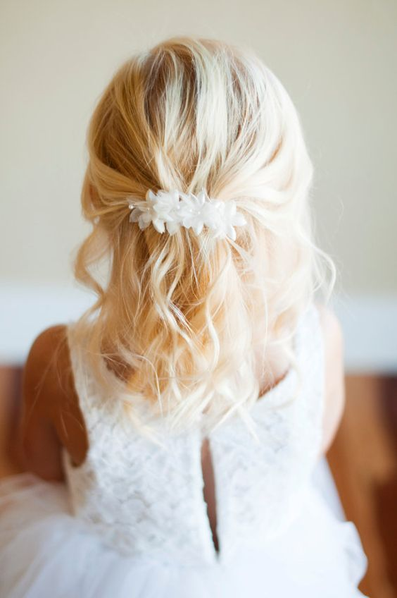 The Wood Anemone Flower Girl Hair clip in in ivory and