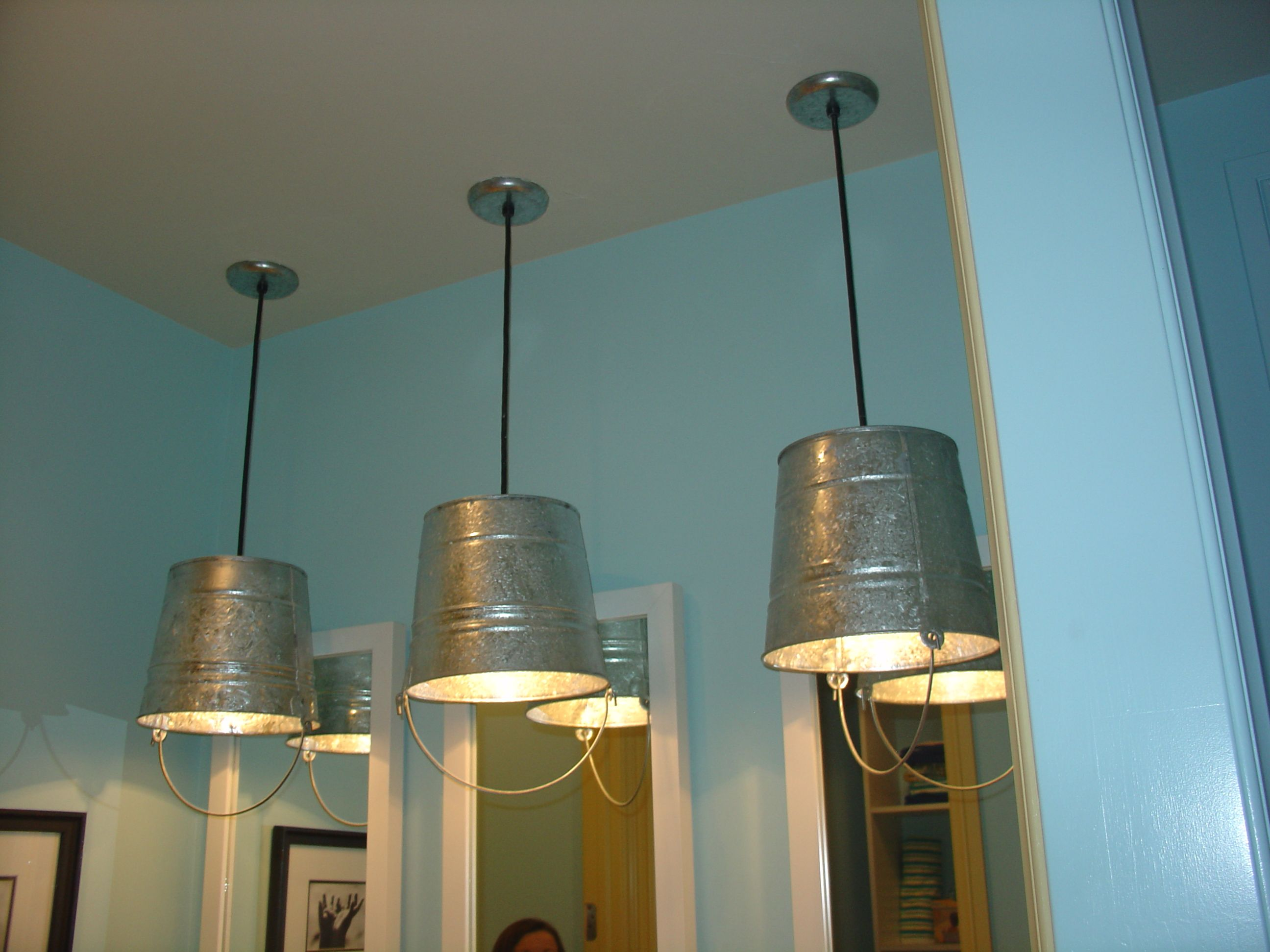 interesting bathroom light fixtures%0A Fun bucket light fixtures in kids bathroom of Parade of Home house in Metro  Denver