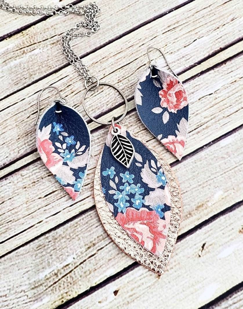Photo of Leather Jewelry, Floral Earring and Necklace Set, Blue Flower Leather Necklace, Blue Floral Leather Earrings, Petal Earrings, Handmade Gift