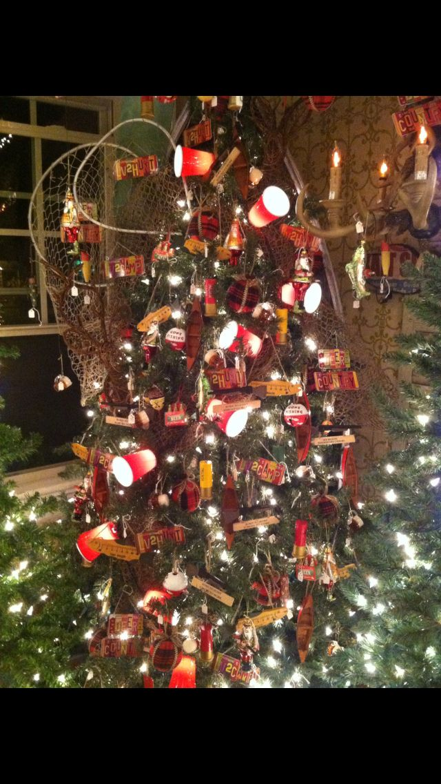 Hunting and fishing themed Christmas tree note